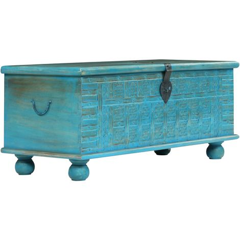 Hommoo Storage Chest Solid Mango Wood Blue 100x40x41 cm