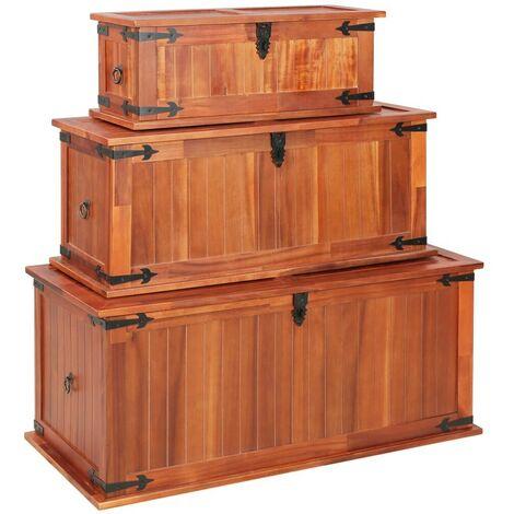 Hommoo Storage Chests 3 pcs Solid Acacia Wood