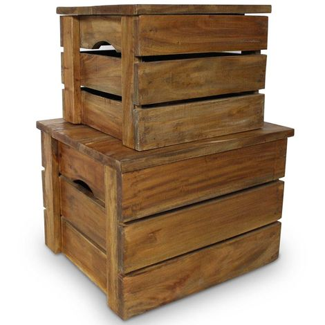 Hommoo Storage Crate Set 2 Pieces Solid Reclaimed Wood