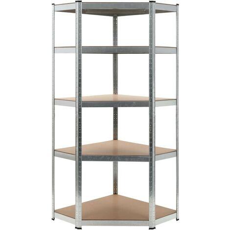 Hommoo Storage Shelf Silver 75x75x180 cm Steel and MDF VD05911