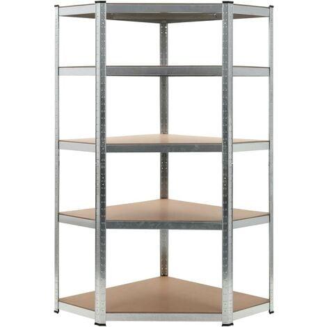 Hommoo Storage Shelf Silver 90x90x180 cm Steel and MDF VD05910