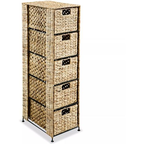 Hommoo Storage Unit with 5 Baskets 25.5x37x100 cm Water Hyacinth