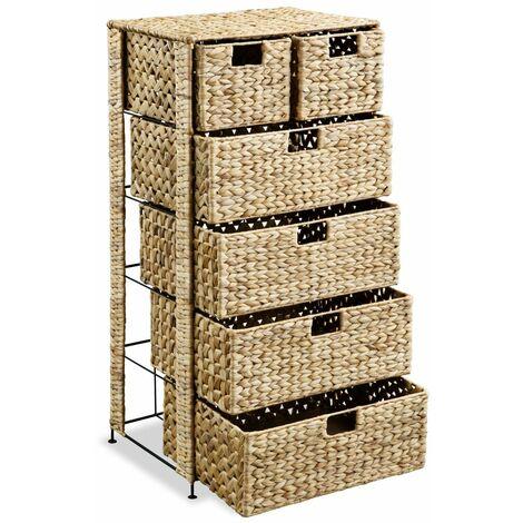 Hommoo Storage Unit with 6 Baskets 47x37x100 cm Water Hyacinth QAH11478