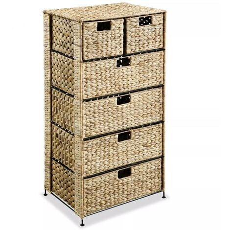 Hommoo Storage Unit with 6 Baskets 47x37x100 cm Water Hyacinth VD11478
