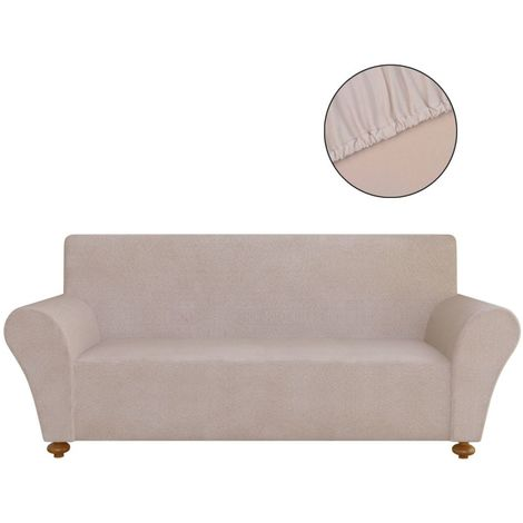 Hommoo Stretch Couch Slipcover Beige Polyester Jersey