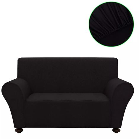 Hommoo Stretch Couch Slipcover Black Polyester Jersey