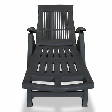 Hommoo Sun Lounger with Footrest Plastic Anthracite QAH27915