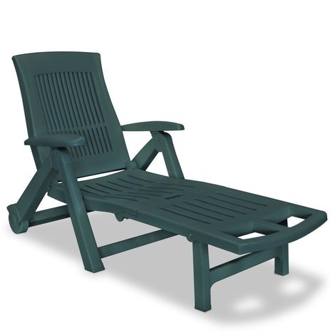 Hommoo Sun Lounger with Footrest Plastic Green