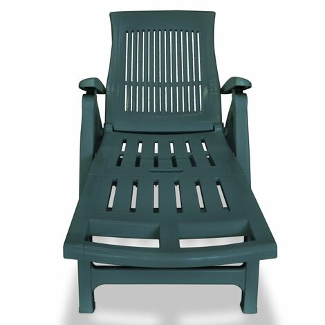 Hommoo Sun Lounger with Footrest Plastic Green QAH27914