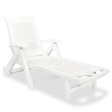 Hommoo Sun Lounger with Footrest Plastic White