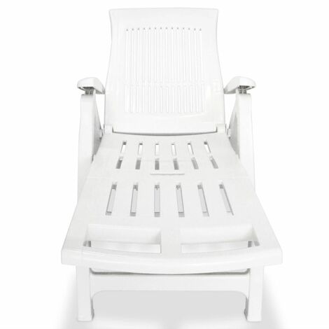 Hommoo Sun Lounger with Footrest Plastic White QAH27913