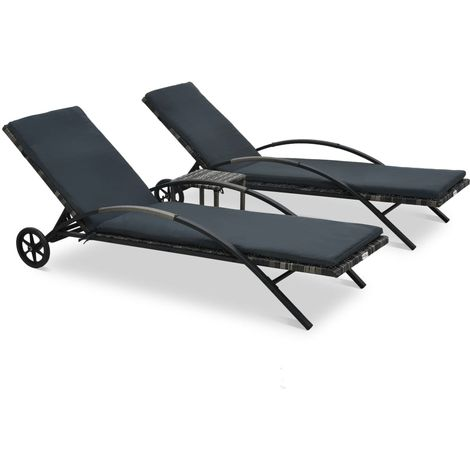 Hommoo Sun Loungers with Table Poly Rattan Anthracite