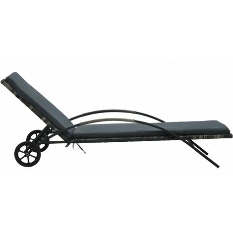 Hommoo Sun Loungers with Table Poly Rattan Anthracite QAH48296