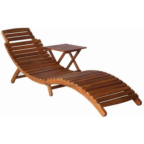 Hommoo Sunlounger with Table Solid Acacia Wood Brown