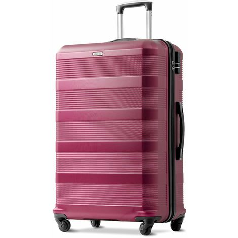 "Hommoo Super Lightweight ABS Hard Shell Travel Spinner 4 Wheels Suitcase Luggage (Wine Red, 24"")"