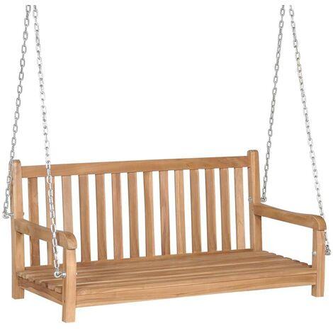 Hommoo Swing Bench Solid Teak 120x60x57.5 cm Brown