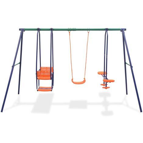 Hommoo Swing Set with 5 Seats Orange QAH32440