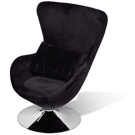 Hommoo Swivel Egg Chair with Cushion Black Velvet
