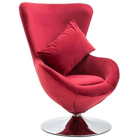 Hommoo Swivel Egg Chair with Cushion Red Velvet