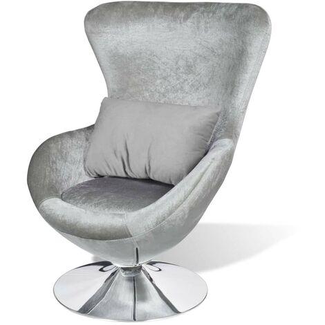 Hommoo Swivel Egg Chair with Cushion Silver Velvet