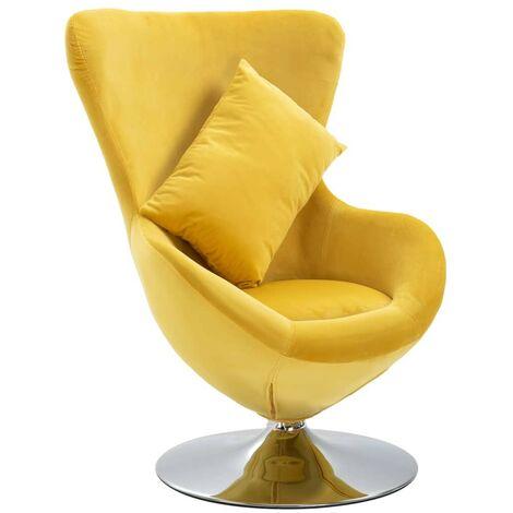 Hommoo Swivel Egg Chair with Cushion Yellow Velvet