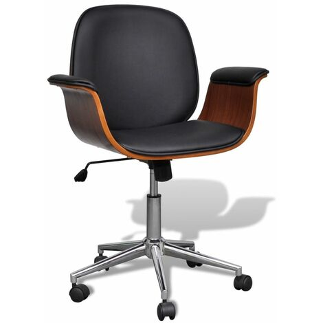 Hommoo Swivel Office Chair Bent Wood and Faux Leather VD33049