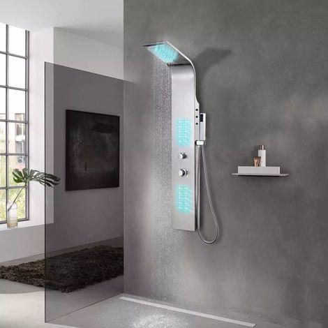 Hommoo Système de panneau de douche Acier inoxydable incurvé