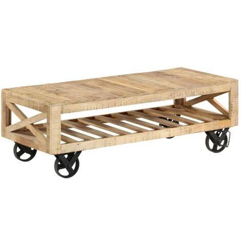 Hommoo Table basse avec roues Bois de manguier massif 110 x 50 x 37 cm HDV12142