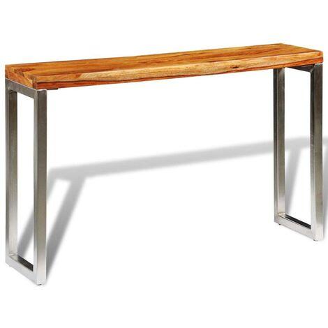 Hommoo Table console avec pieds en acier Bois massif de sesham HDV09065