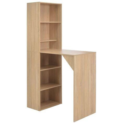 Hommoo Table de bar avec armoire Chêne 115 x 59 x 200 cm HDV22380