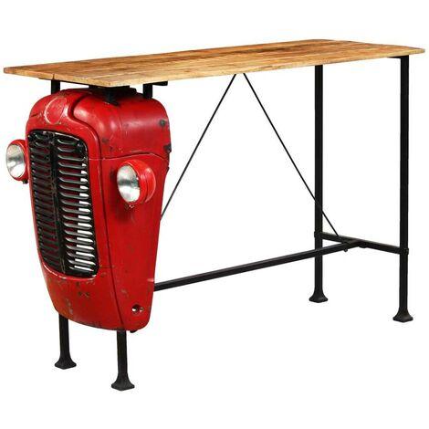 Hommoo Table de bar Bois de manguier 60x150x107 cm Rouge Tracteur HDV12171