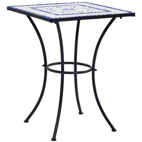 Hommoo Table de bistro mosaïque Bleu et blanc 60 cm/Céramique HDV30068