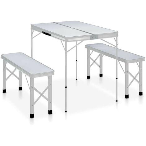 Hommoo Table de camping pliable avec 2 bancs Aluminium Blanc HDV46345