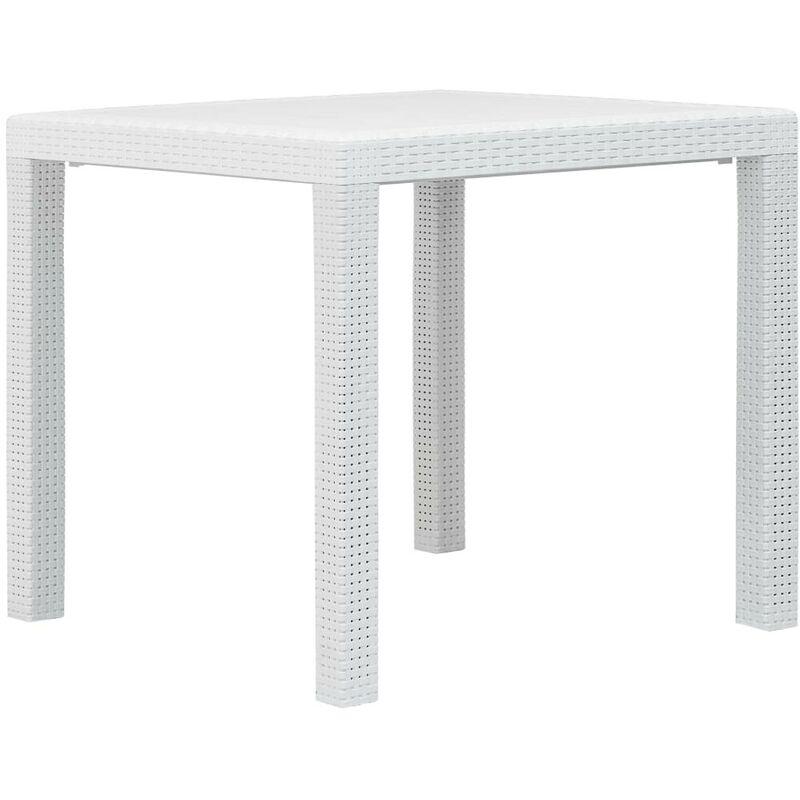 Table de jardin Blanc 79x79x72 cm Plastique Aspect de rotin HDV29731 - Hommoo
