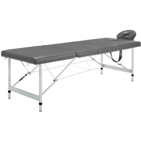 Hommoo Table de massage 4 zones Cadre en aluminium Anthracite 186x68cm