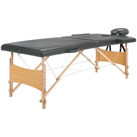 Hommoo Table de massage avec 2 zones Cadre en bois Anthracite 186x68cm