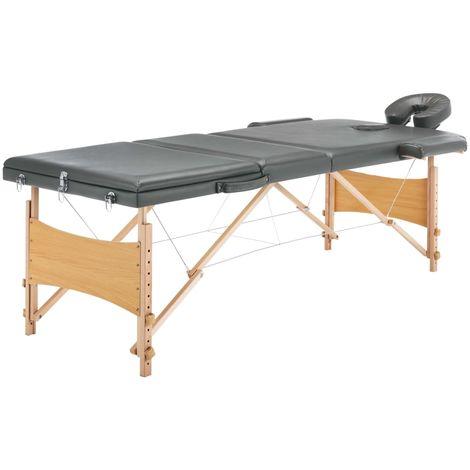 Hommoo Table de massage avec 3 zones Cadre en bois Anthracite 186x68cm