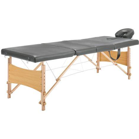 Hommoo Table de massage avec 4 zones Cadre en bois Anthracite 186x68cm