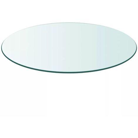 Hommoo Tablero de mesa cristal templado redondo 600 mm