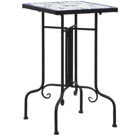 Hommoo Tables d'appoint mosaïque Bleu et blanc Céramique HDV30072