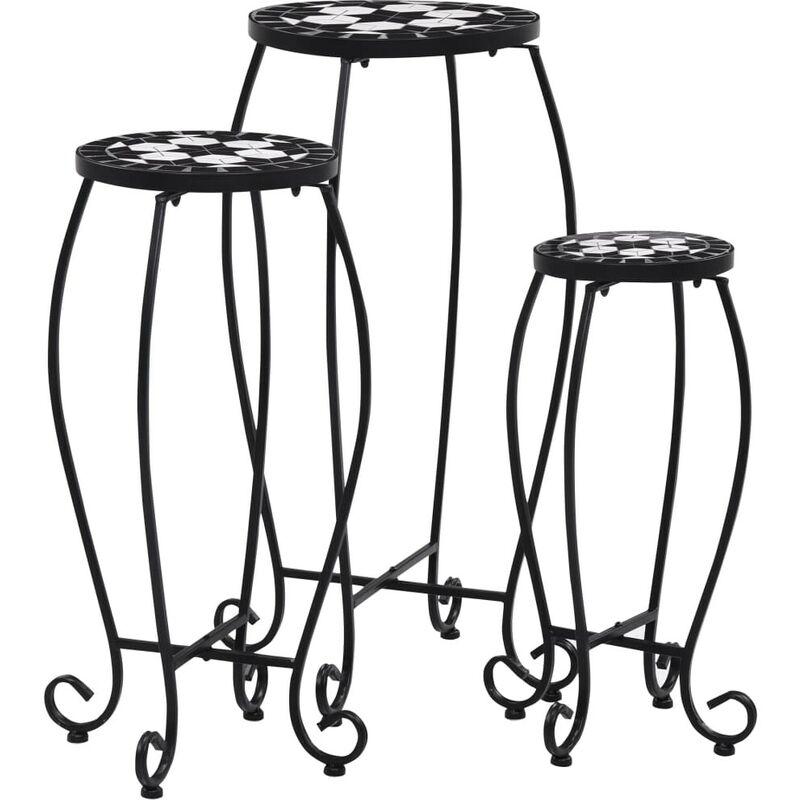 Tables mosaïque 3 pcs Noir et blanc Céramique HDV30065 - Hommoo