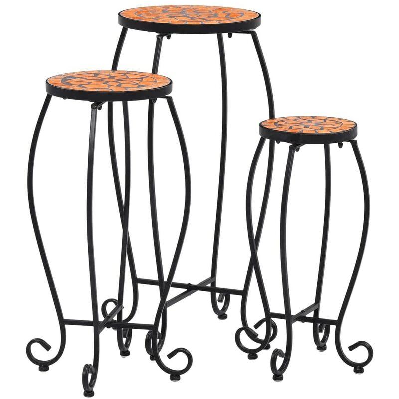 Hommoo Tables mosaïque 3 pcs Terre cuite Céramique HDV30063