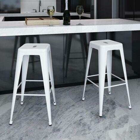 Hommoo Tabourets de bar 2 pcs Blanc Acier HDV08439