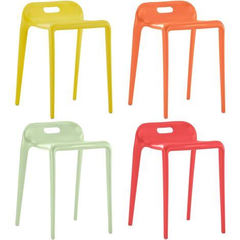 Hommoo Tabourets empilables 4 pcs Multicolore Plastique