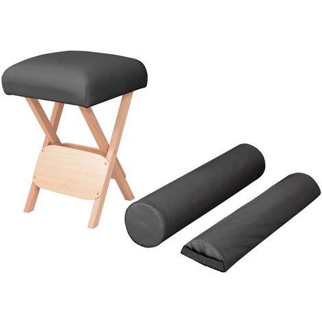 Hommoo Taburete de masaje plegable 12 cm de grosor y 2 cojines negro