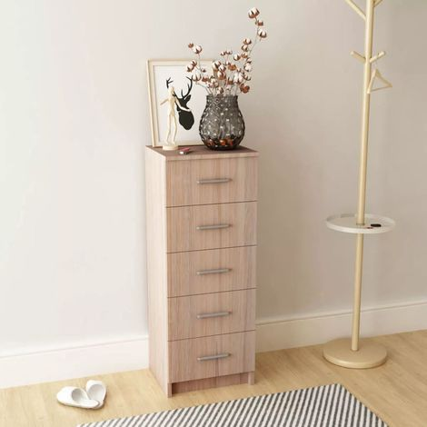 Hommoo Tall Chest of Drawers Chipboard 41x35x108 cm Oak