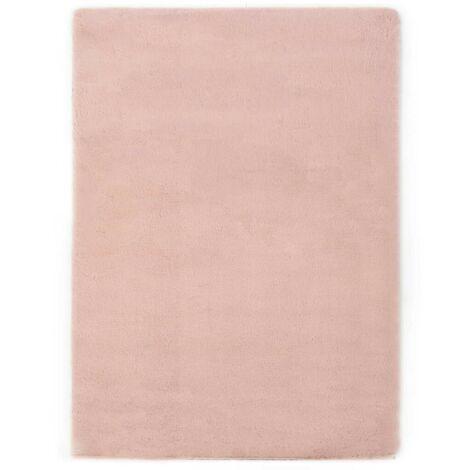 Hommoo Tapis 160x230 cm Fausse fourrure de lapin Vieux rose HDV25383
