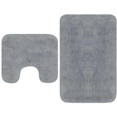 Hommoo Tapis de salle de bain 2 pcs Tissu Gris