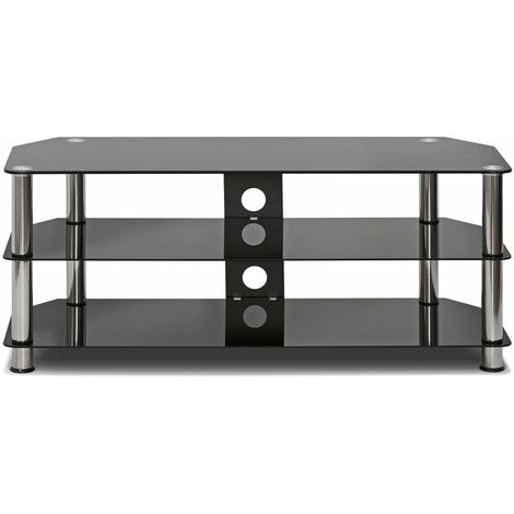Hommoo Tempered Glass TV Stand Table Unit Curved Glass Table Televisions for 32-60 inch Plasma/LCD/LED/3D Black (100cm)