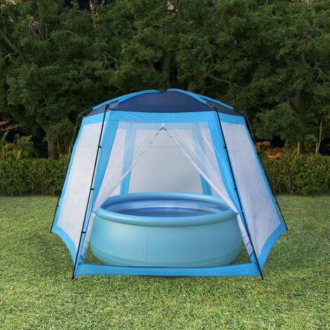 Hommoo Tente de piscine Tissu 500x433x250 cm Bleu HDV32643